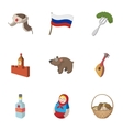 russia icons set cartoon style vector image vector image