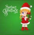 santa girl holding gift box vector image