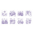 set 8 different line drawn landscapes vector image