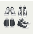 set of isolated cartoon black sneakers vector image vector image