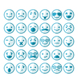 set smileys in different emotions and moods vector image vector image