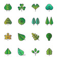 simple tree leaves icons isolated green vector image