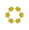 Six point star created with arrows symbol vector image