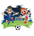 soccer players play the ball at the stadium vector image