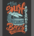 surf print handdrawn lettering with a minivan vector image