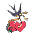 tattoo swallow carries ribbon with two hearts vector image vector image