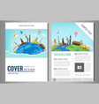 travel flyer design with famous world landmarks vector image vector image