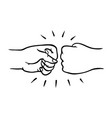 two human hands giving fist bump gesture in sketch vector image