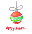 watercolor christmas ball on white background vector image vector image