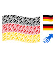 waving german flag collage of squid items vector image