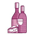 wine bottle and cup with cheese vector image vector image