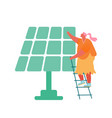 woman stand on ladder near solar panel isolated on vector image