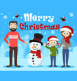 young happy family sculpts a snowman christmas vector image vector image