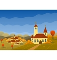 autumn landscape with hills and village vector image