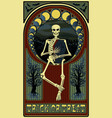 art nouveau invitation card with skeleton coffin vector image vector image
