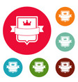 badge emperor icons circle set vector image vector image