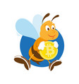 bee miner keep gold bitcoin vector image vector image