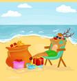 cartoon reindeer relaxing on chair near bag full vector image