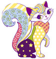cat female sitting abstract applique vector image vector image