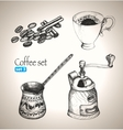 Coffee set beans cup cezve and mill vector image vector image