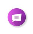 comment box purple flat design long shadow glyph vector image vector image