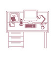 dark red line contour of workplace office interior vector image vector image