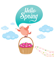 Flying Bird And Flower Basket On Sky vector image