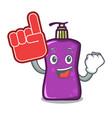foam finger shampo mascot cartoon style vector image
