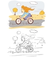 Girl On Bicycle vector image vector image