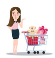 girl woman buying purchase presents toy doll push vector image vector image