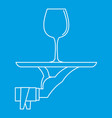 glass of wine on a tray icon outline style vector image vector image
