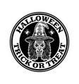 halloween vintage round emblem badge label vector image