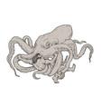 Hercules fighting giant octopus drawing vector image