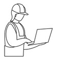 industrial worker with laptop avatar character vector image vector image