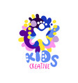 kids creative logo colorful hand drawn labels and vector image vector image
