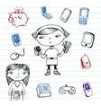 Mobile communication hipsters doodle set vector image vector image