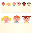 multicultural kids banner vector image vector image