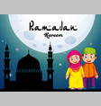 muslim couple and mosque at night vector image vector image