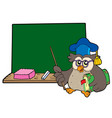 owl teacher with book and blackboard vector image vector image
