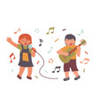 people sing a song with a guitar sing vector image