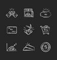 precious metals chalk white icons set on black vector image