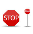 red road sign stop vector image vector image