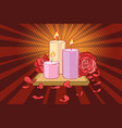 romantic candles and rose petals vector image vector image