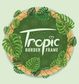 round frame border made with tropical leaves vector image vector image