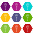 round lollipop icons set 9 vector image vector image