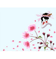 sakura card a branch of blossoming cherry spring vector image vector image