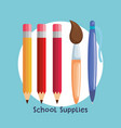 school supplies set icons vector image
