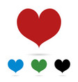 set of colored hearts with shadow love vector image