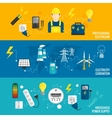 Set of line banner energy generation vector image vector image