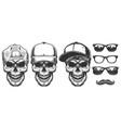 set of skull in cap vector image vector image